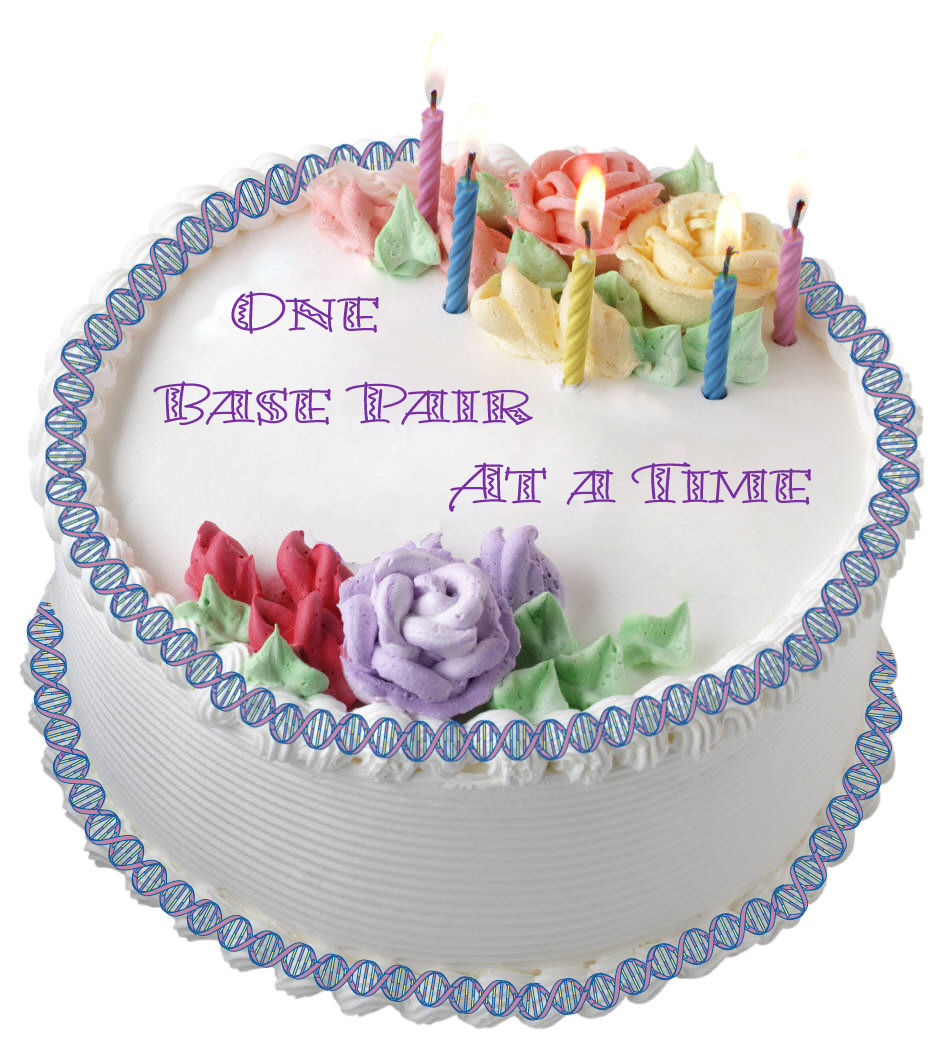 cake with double helix decoration - text: One base pair at a time