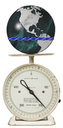 world globe balanced on top of a scale including a DNA strand as the equator