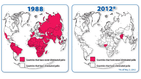 world map comparing polio from 1988 to 2012