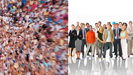 a huge crowd versus a small group of people