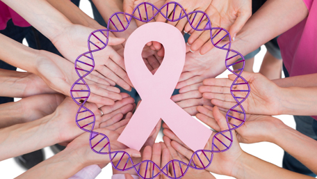 Hands joined in circle holding breast cancer struggle symbol and surrounded by DNA