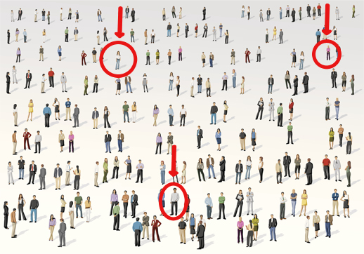 a crowd of people with two individuals circled in red and arrows pointed at them
