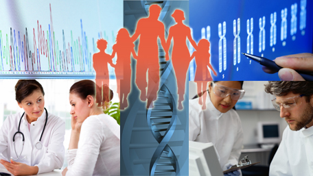 a collage of four image: whole genome sequencing, a hand holding a pen pointing to DNA, a two people in a lab, doctor showing documents to a patient, DNA in the midddle and a family superimposed over all five images
