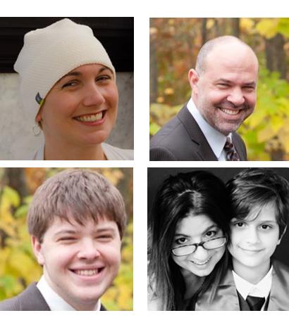 four photos of Sarah, Dave, Zac and Gloria (reading order starting top left)
