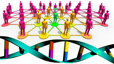 figures connected by lines and DNA