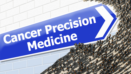 cancer precision medicne sign pointing ahead into a crowd of people