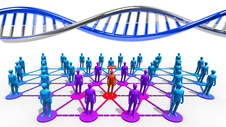 crowd with on figure standing out and DNA on the top