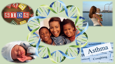 a mother and child surrounded by DNA and several images of environmental factors