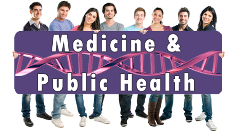 people holding a sign reading Medicine & Public Health with DNA