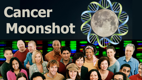 Cancer Moonshot with an image of a moon surrounded by DNA and a crowd of people