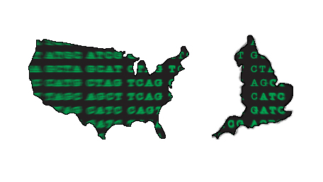 A map of the US and UK with sequencing