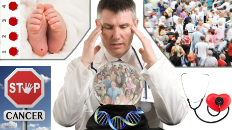 a doctor looking into a crystal ball filled with people - he is surrounded by a babies feet with bloodspots and a crowd of people and a stop sign with cancer on it and a stethoscope listening to a heart