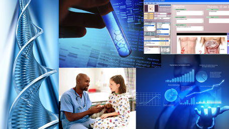 DNA, a hand holding a test tube, electronic health record, a doctor talking to a girl and a person looking at data