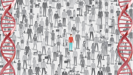 a crowd of people in grey and one individual standing out in color and double helices on the border of the image