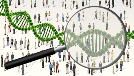 a crowd of people with a magnifying glass on a few and DNA