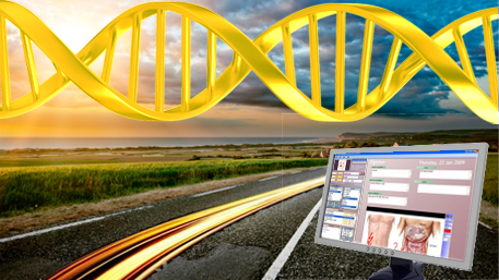 a long road with a lighting speed trail, a computer monitor with electronic health record displayed and DNA in the sky