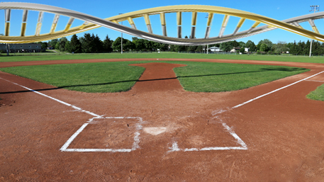 an empty baseball field with DNA