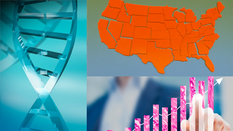 DNA and a US map and a person pointing to a graph