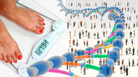 a person standing on a scale and a crowd of people with DNA overlayed