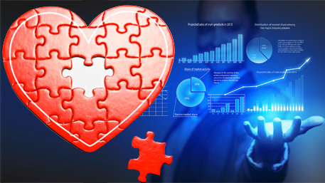 a heart puzzle with a person holding data charts