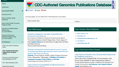 screenshot of the CDC-authored Genomics Publication Database in the PHGKB