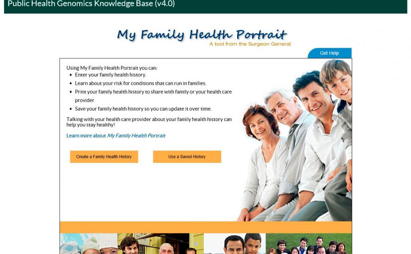 screenshot of the My Family Health Portrait located within the CDC PHGKB database