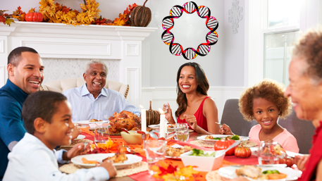 a multigenerational familly eating a thanksgiving meal and a picture of DNA is hanging on the wall