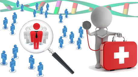 a person being magnified in a crowd with a magnifying glass and a doctor holding a stethoscope on the crowd with DNA