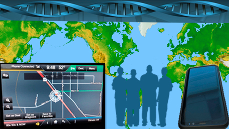 a world map with a GPS, cell phone and DNA and people
