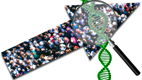 a crowd of people incased in an upward arrow with a magifying glass on them with DNA