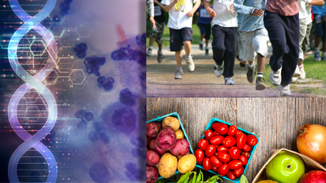 cancer cells with DNA and a crowd of people running and fresh fruits and vegetables