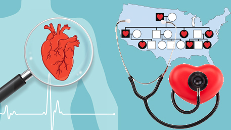 a heart being magnified in a body, a FH pedrigree on top of a US map and a heart being listened to wiht a stethoscope