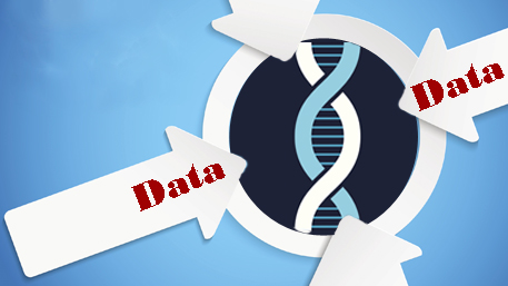 double helix surrounded by arrows labeled Data