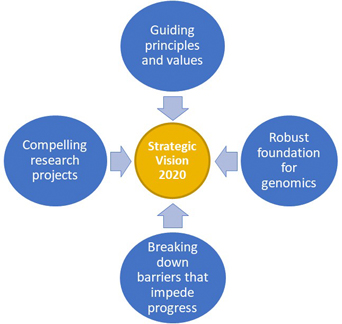 four text box circles surrounding one circle in the middle with arrows pointing to: circle in the middle: Strategic vision, next circles: guiding principles and values, robust foundation for genomics, breaking down barriers that impede progress, compelling research projects
