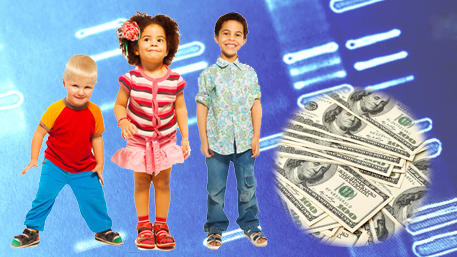 children with sequencing in the background and money