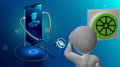 a cell phone being held by a stethoscope and a figure looking at the cell phone and thinking about reinventing the wheel