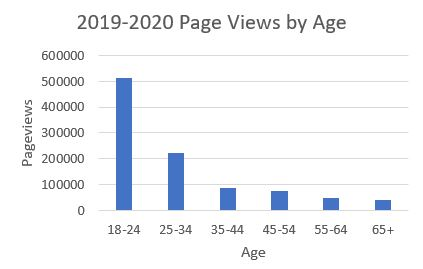 2019-2020 Page Views by Age