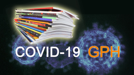 a stack of journals with the COVID-19 GPH logo in the background