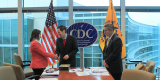 Guatemala National Public Institute Director, Ministry of Health Guatemala, Mayari Centeno MD, MPH (left) and CDC - Central American Regional Office Director, Nelson Arboleda, MD, MPH (right) meet with CDC Director Tom Frieden, MD, MPH (center) in CDC-Atlanta, February 2014.