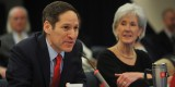 CDC Director Tom Frieden opens the February 13 Global Health Security Launch Event hosted by Secretary Kathleen Sebelius at the U.S. Department of Health and Human Services