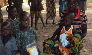 Children affected by measles outbreak in Paoua, Central African Republic, April 2014