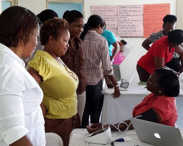 A blood pressure screening in Barbados.