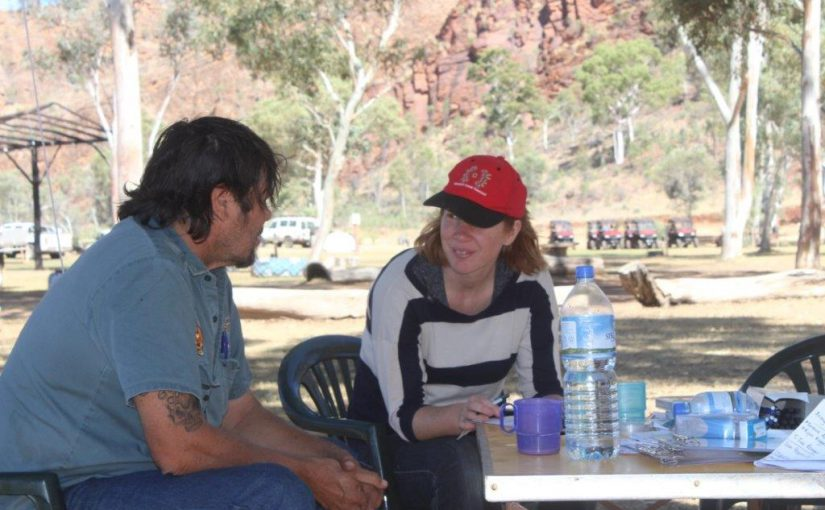 Project leader Alyson Wright surveys a community member in Central Australia.