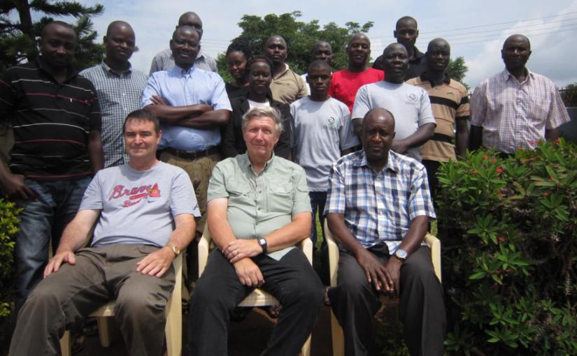 Dr. Bill Brogdon (center) along with USN CAPT (retired) David Hoel and National Malaria Control Program staff at PMI Entomology Training in Uganda, 2015