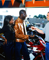 coulple buying a motorcycle
