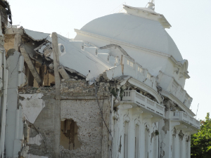 Close-up of the ruins of the Presidential Palace
