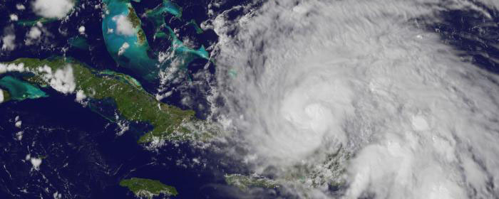 aerial view of hurricane over the Atlantic