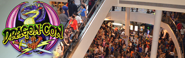 crowd of people moving through the hotel at DragonCon