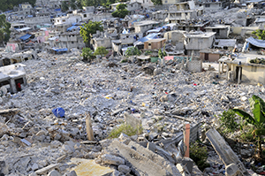 Destroyed homes and rubble in Haiti after the 2010 Earthquake