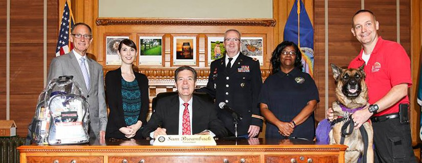 """Fred witnesses the governor of Kansas signing a proclamation naming September """"National Preparedness Month"""""""